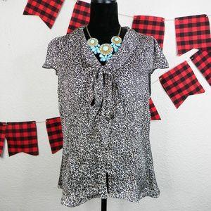 Leopard print tie front/ button up blouse